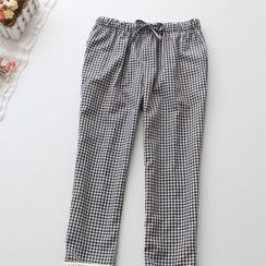 Blue Rose - Cropped Gingham Pants