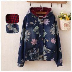 Waypoints - Hooded Floral Print Denim Jacket