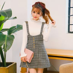 Princess Home - Check Suspender Knit Skirt
