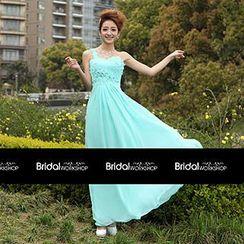 Bridal Workshop - One-Shoulder Flower Appliqué A-Line Evening Gown