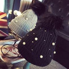 華娟 - 仿珍珠球球裝飾無邊帽