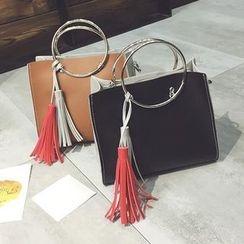 Diamante - Tasseled Metal Ring Handle Handbag