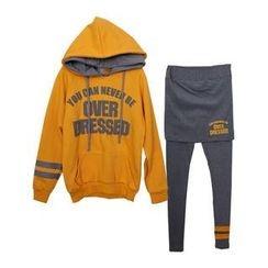 SARADA - Set: Dual-Hood Lettering Pullover + Inset Skirt Leggings