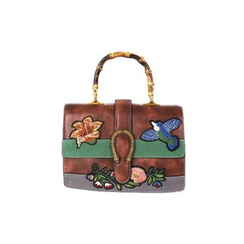 DABAGIRL - Mock Bamboo-Handle Appliqué Satchel
