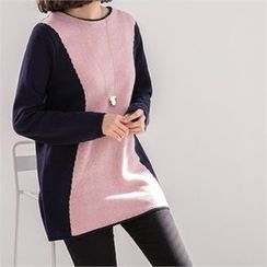 PIPPIN - Wool Blend Color-Block Knit Top