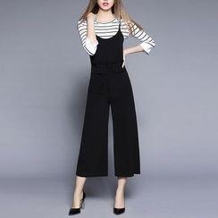 Rosesong - 套装: 条纹七分袖T裇 + 背带宽腿连体服