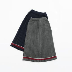 Meimei - Pleated Knit Midi Skirt