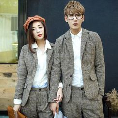 Bay Go Mall - Set: Houndstooth Check Couple Matching Blazer + Dress Pants