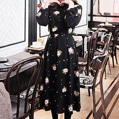 Ashlee - Long-Sleeve Floral Chiffon Dress