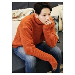 HOTBOOM - Turtle-Neck Rib-Knit Sweater
