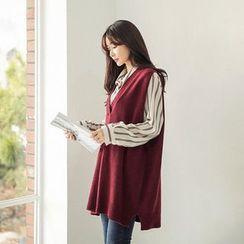Seoul Fashion - Sleeveless Wool Blend Knit Mini Dress