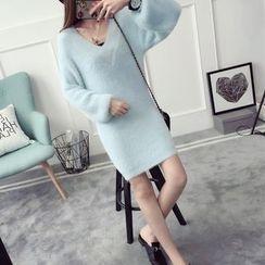 Qimi - 長袖厚針織連衣裙