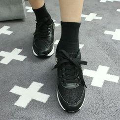 Dodostyle - Mesh-Panel Platform Sneakers