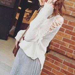 Cloud Nine - Lace-Up Sleeve V-Neck Sweater