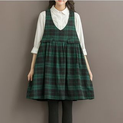 Viana Smile - Maternity Check Pinafore Dress