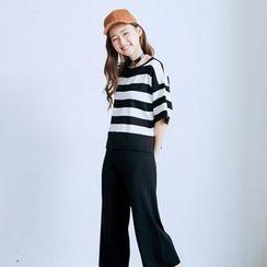 BAIMOMO - 套装:条纹针织上衣 + 阔腿裤