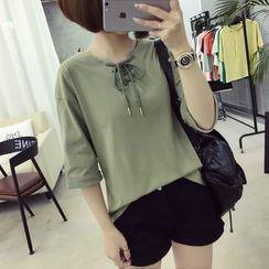 Ukiyo - Lace Up Front Elbow Sleeve T-Shirt
