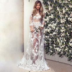 Hotprint - Long-Sleeve Lace See Through Gown