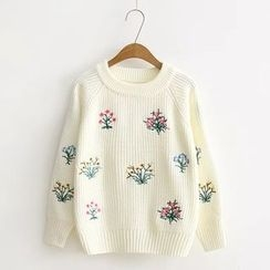 Blue Rose - Floral Embroidered Sweater