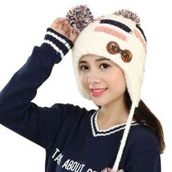 Scarflet - Pompom-Accent Buttoned Beanie