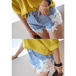 REDOPIN - Denim Distressed Lace-Trim Shorts