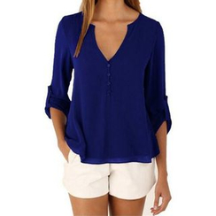 Fundae - Split-neck Chiffon Blouse