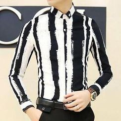 Besto - Print Pinstriped Slim Fit Long Sleeves Shirt