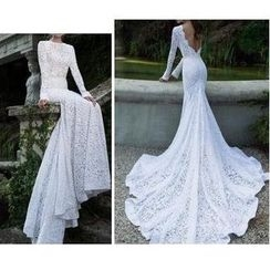 Katemi - Open Back Long Sleeve Trained Lace Wedding Dress