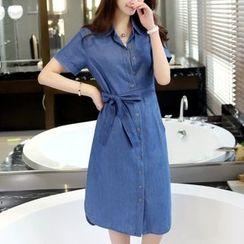 Cobogarden - Short-Sleeve Denim Shirtdress