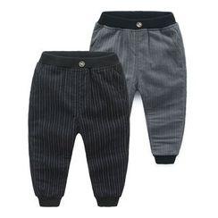 貝殼童裝 - 小童細條紋內抓毛褲