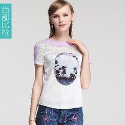Sentubila - Print Lace Panel Short Sleeves Top