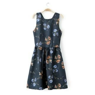 JVL - Sleeveless Floral A-Line Dress