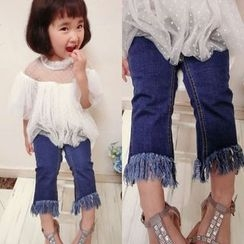 Happy Lala - Kids Fray-Hem Cropped Jeans