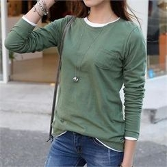 CHICFOX - Long-Sleeve Pocket-Front T-Shirt