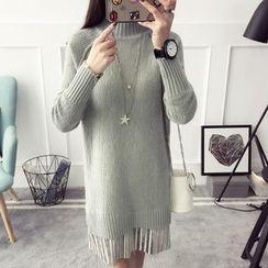 Qimi - Long-Sleeve High Neck knit Dress