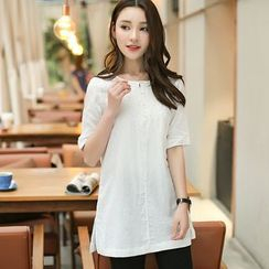Violette - Elbow-Sleeve Lace Panel Tunic