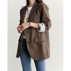 UPTOWNHOLIC - Single-Breasted Flap-Detail Jacket