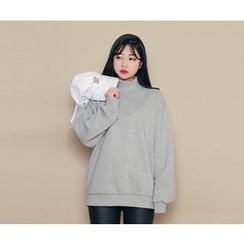HOTPING - Mock-Neck Cotton Pullover