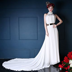 Coeur Wedding - Embellished Halter Wedding Ball Gown With Train