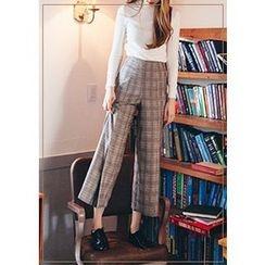 Chlo.D.Manon - Glen-Plaid Wide-Leg Dress Pants