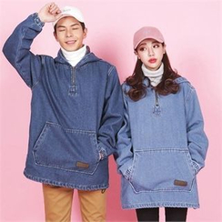 Superstar.i - Couple Hooded Zip-Neck Denim Pullover