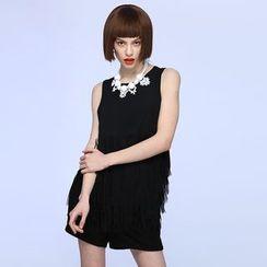 Liya Closet - Fringed Sleeveless Chiffon Top