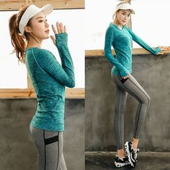 PUDDIN - Sports Set: Long Sleeve T-Shirt + Yoga Pants