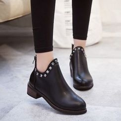 Wello - Studded Block Heel Ankle Boots