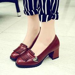 幸福鞋坊 - 流苏粗跟乐福鞋