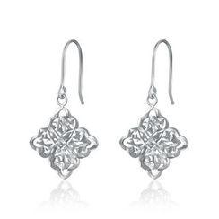 MaBelle - 14K White Gold Square Filigree Hook Earrings