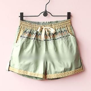 Munai - Drawstring-Waist Embroidered Shorts