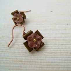 MyLittleThing - Copper Glass Flowers Earrings(Pink)