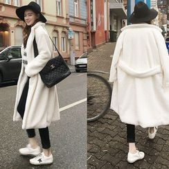 NIPONJJUYA - Notched-Lapel Faux-Fur Long Coat