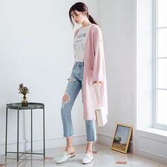 chuu - Dual-Pocket Open-Front Long Cardigan